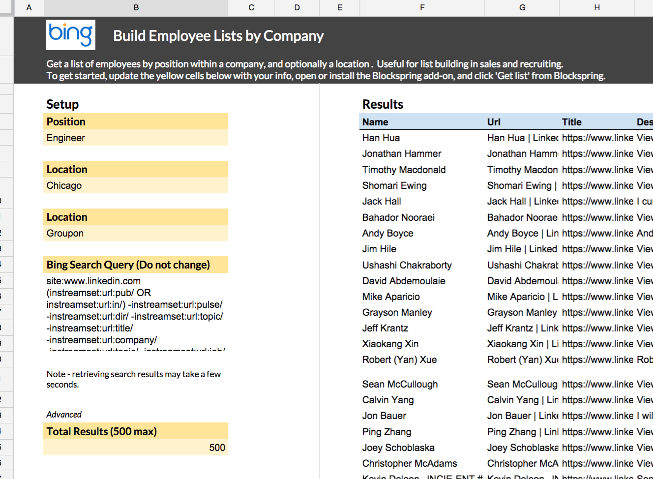 build employee lists by company spreadsheet template in google