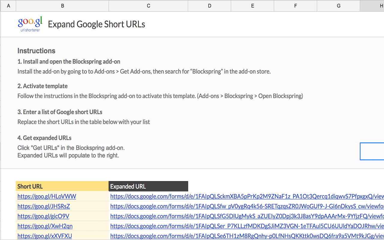 Expand Google Short URLs - spreadsheet template in Google Sheets ...