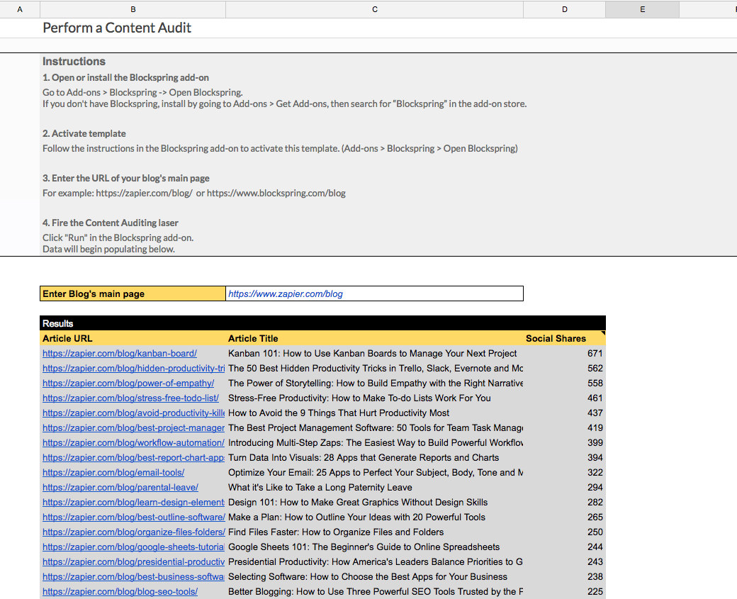 Perform A Content Audit Spreadsheet Template In Google Sheets